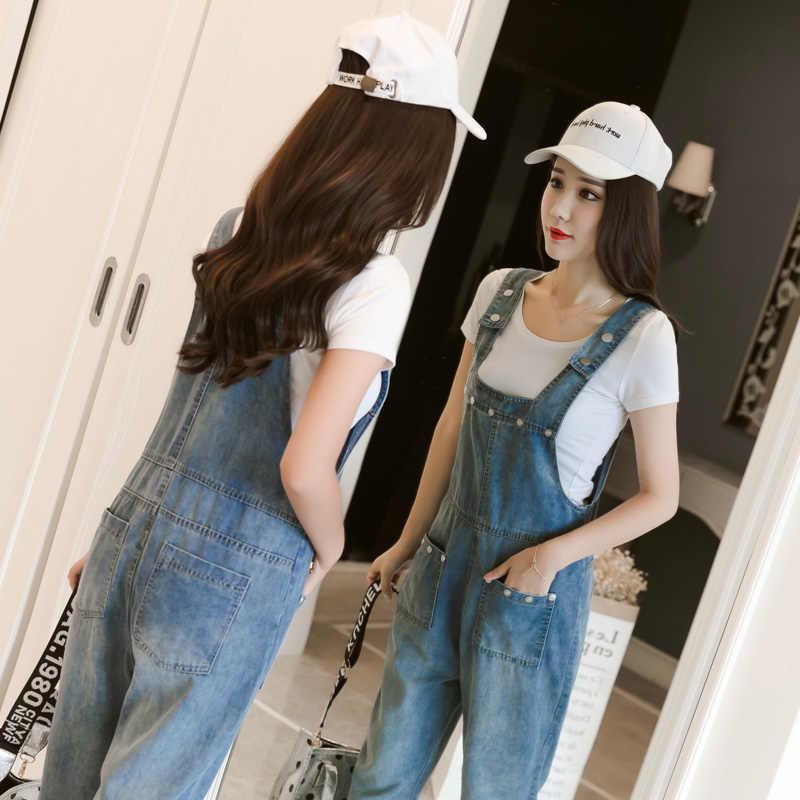 2019 летние Широкие джинсовые комбинезоны женские винтажные джинсы с цветами Комбинезоны женские большие прямые джинсовые комбинезоны