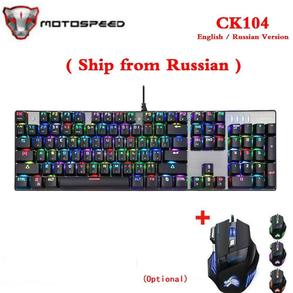 Original Motospeed CK104 Metal 104 Keys RGB Switch Gaming Wired Mechanical Keyboard LED Backlit Anti Ghosting