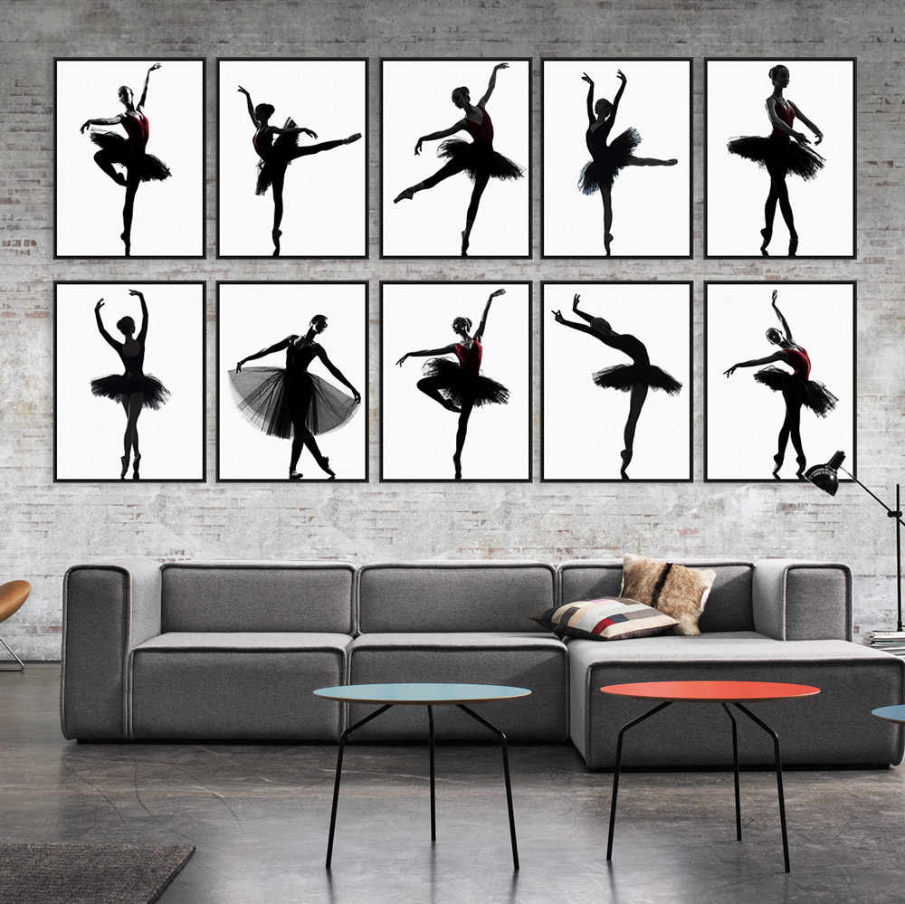 Modern Black White Elegant Beautiful Ballet Dancer Photo Art Print Poster Wall Picture Canvas Painting Ballerina Home Decor