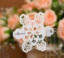 120pcs/lot Laser Cut snowflake shaped Place Card number holder Wine Glass Wedding xmas table Decoration wd114