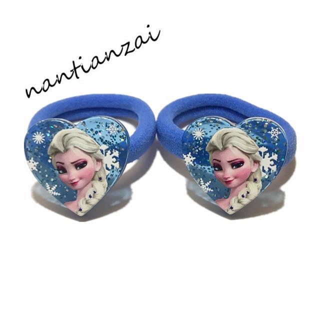 1Pair=2PCS Girls Lovely Cartoon Hair Accessories Elsa Anna Princess Hair bands Acrylic Hair rope Hair ring Children Party Gifts