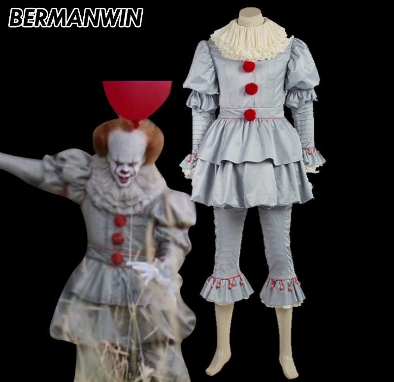 bermanwin high quality stephen kings it pennywise costume clown costume halloween cosplay costume for adult men in movie tv costumes from novelty