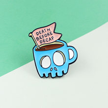 Slogan Death before Decaf PinsBlue Coffee Thrilling Staring Eyes Horror Cups Halloween Gifts Horror Ornaments(China)