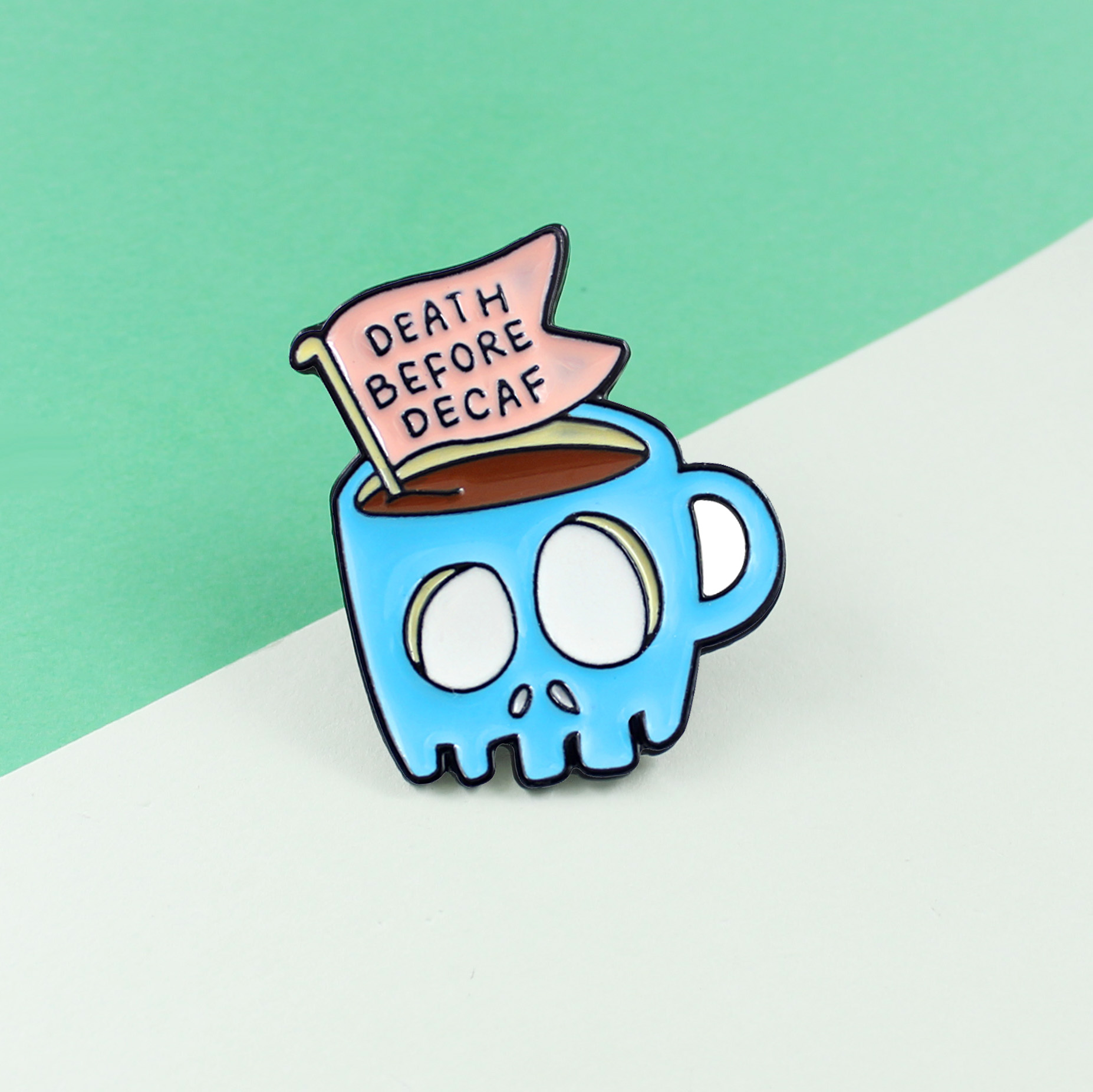 Slogan Death before Decaf PinsBlue Coffee Thrilling Staring Eyes Horror Cups Halloween Gifts Horror Ornaments image