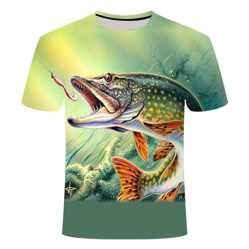 Verão O mais recente 2019 T-shirt homem 3D impressão legal dos homens de pesca de peixe Ao Ar Livre curto tops 0 gola ocasional dos homens de pesca t-shirt poissons
