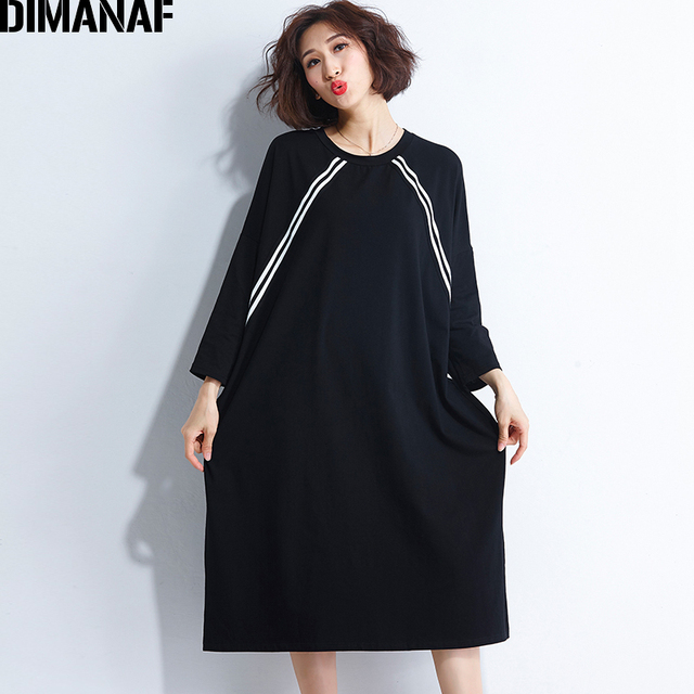 DIMANAF נשים שמלת סתיו ארוך שרוול בגדים בתוספת גודל כותנה Femme איחה Vestidos Loose פסים מקרית שחור חולצה שמלה