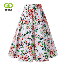 GOPLUS Floral Print Pleated Skirts Women Sexy High Waist A-Line Midi Skirt Lady 2019 Spring Winter Vintage Party Female