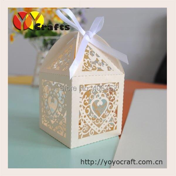 Роскошный! удивительные формы сердца лазерной резки свадебный торт дизайн коробки 5*5 см