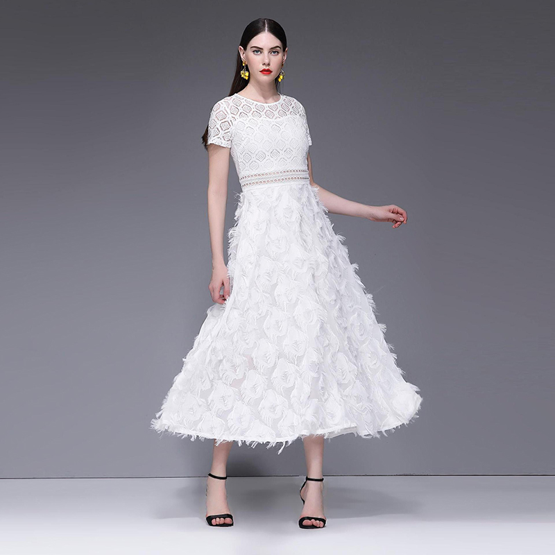 Verano de manga corta cuello gancho hueco de flor de encaje blanco vestido Casual Sexy elegante cena vestido de mujer Maxi vestidos 2019 - 2