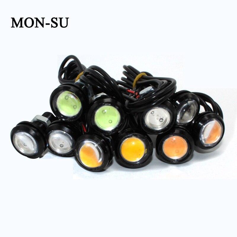 MON-SU 10pcs DC12V 23mm Eagle Eye DRL Car LED Daytime Running Light Work Light Source Waterproof Fog Parking Light Black