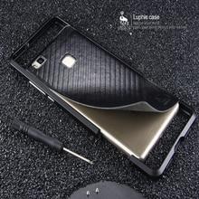 Ультратонкие Панцири металла Алюминий Рамки чехол для Huawei P9 lite случае Luphie для Huawei Ascend P9 Lite/G9 Lite Сзади кожа Стикеры