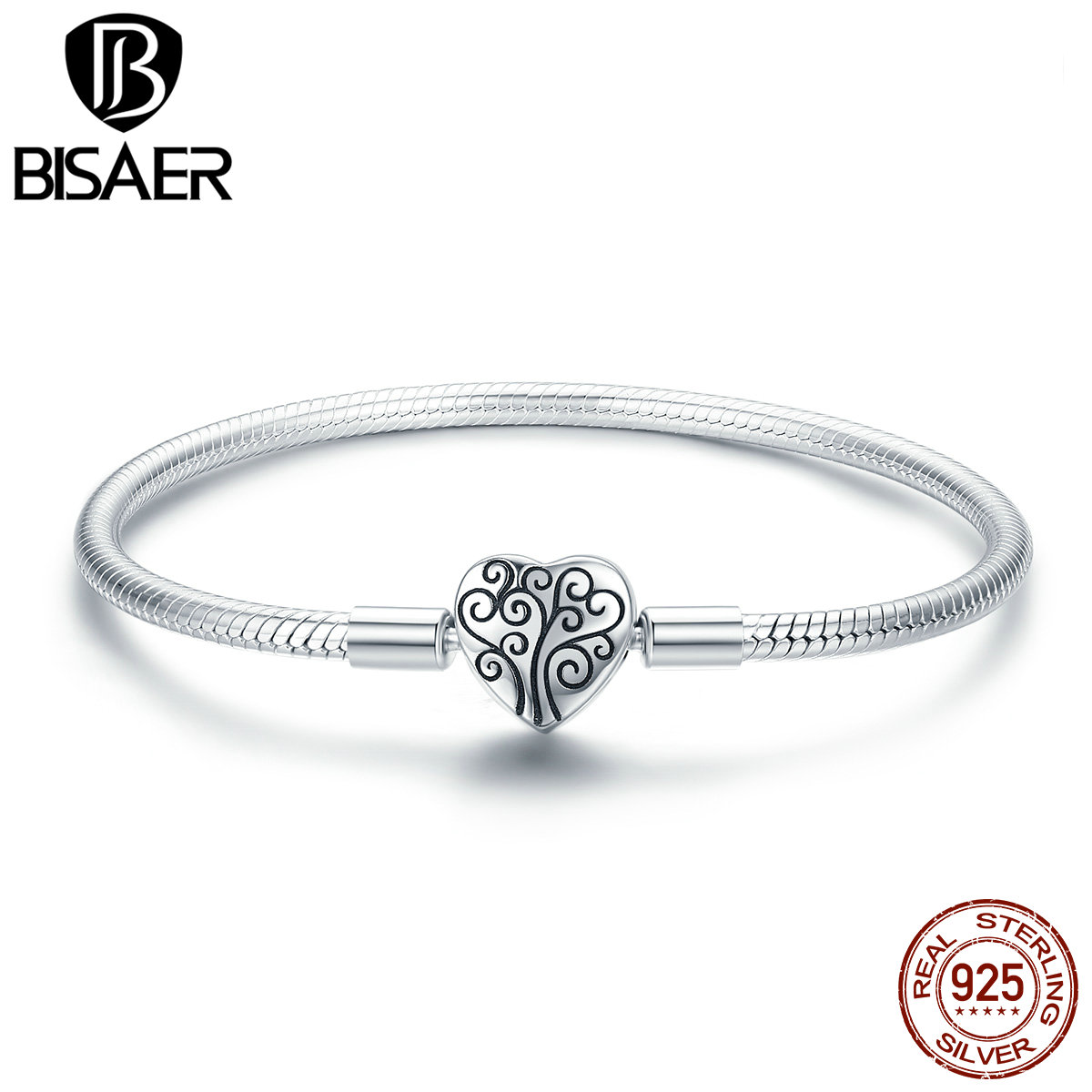 Image 4 - 100% 925 Sterling Silver Family Tree Of Life Snake Chain  Bracelets for Women Heart Pave Sterling Silver Bracelet Jewelry  ECB066Charm Bracelets