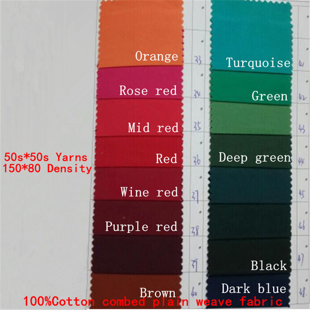 1 43 1 Meter 100 Cotton Combed Wine Red Shirt Fabric 50s 50s Solid