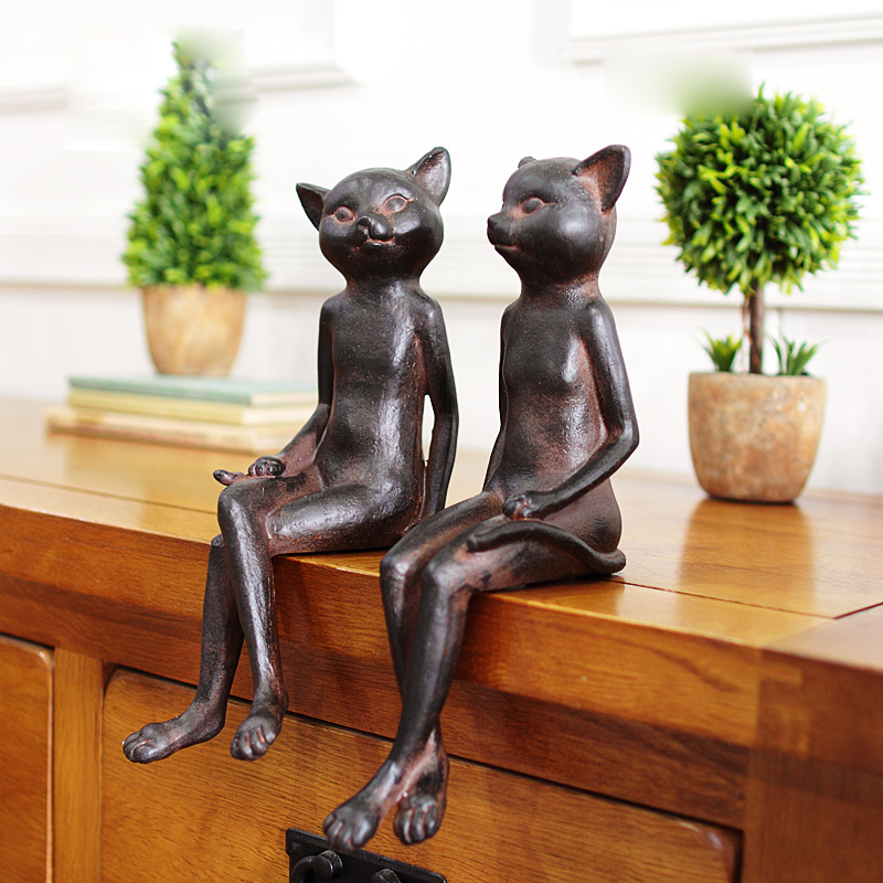 American Style Retro Cat Figurine 2PCS SET table sitting room furnishing articles Home Decoration
