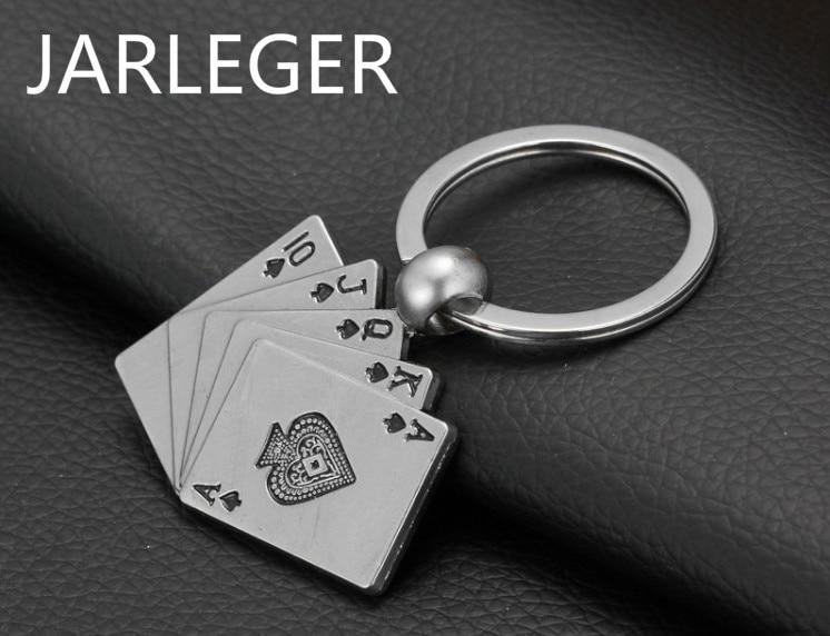 Fashion Metal Poker Cards Key Chain Ring Poker Club Accessory Men Poker ACE Key Chains Llavero Poker Chips Car Styling