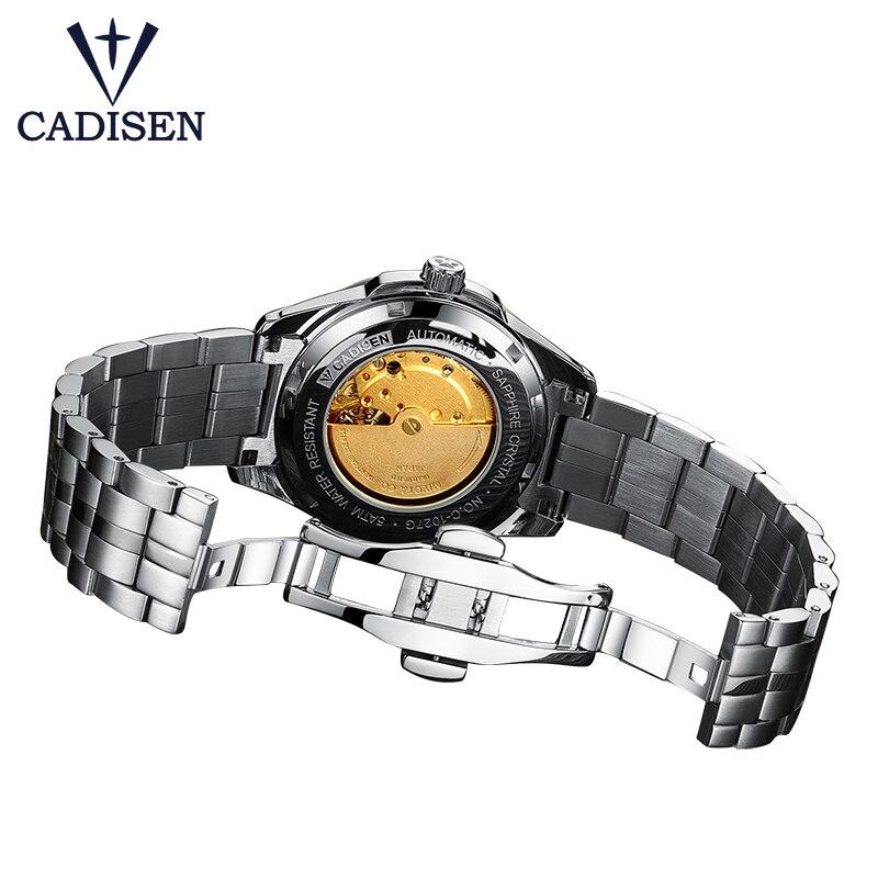 CADISEN Top marque hommes affaires montre mécanique automatique Date étanche horloge hommes en acier inoxydable montre-bracelet Relogio Masculino - 4