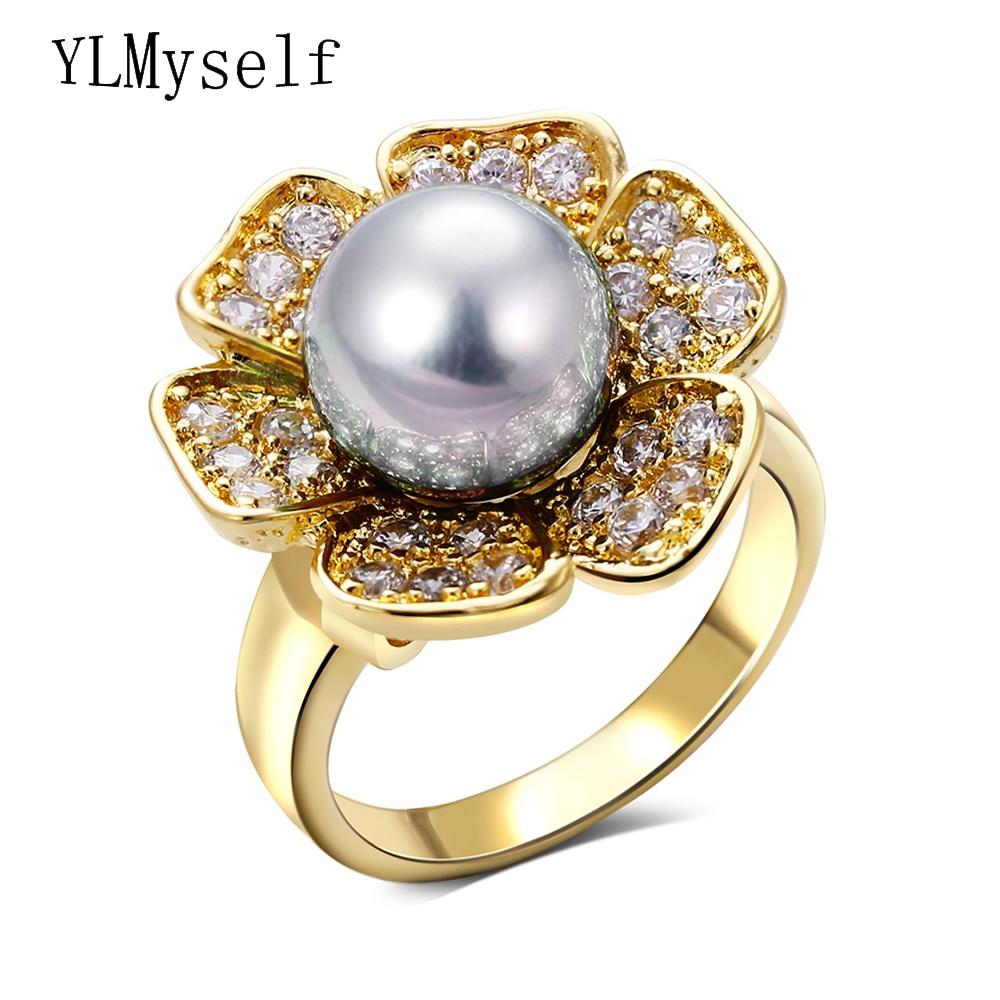 2018 Fashion Flower Ring With Pinkgraywhiteab Graycream Handmade