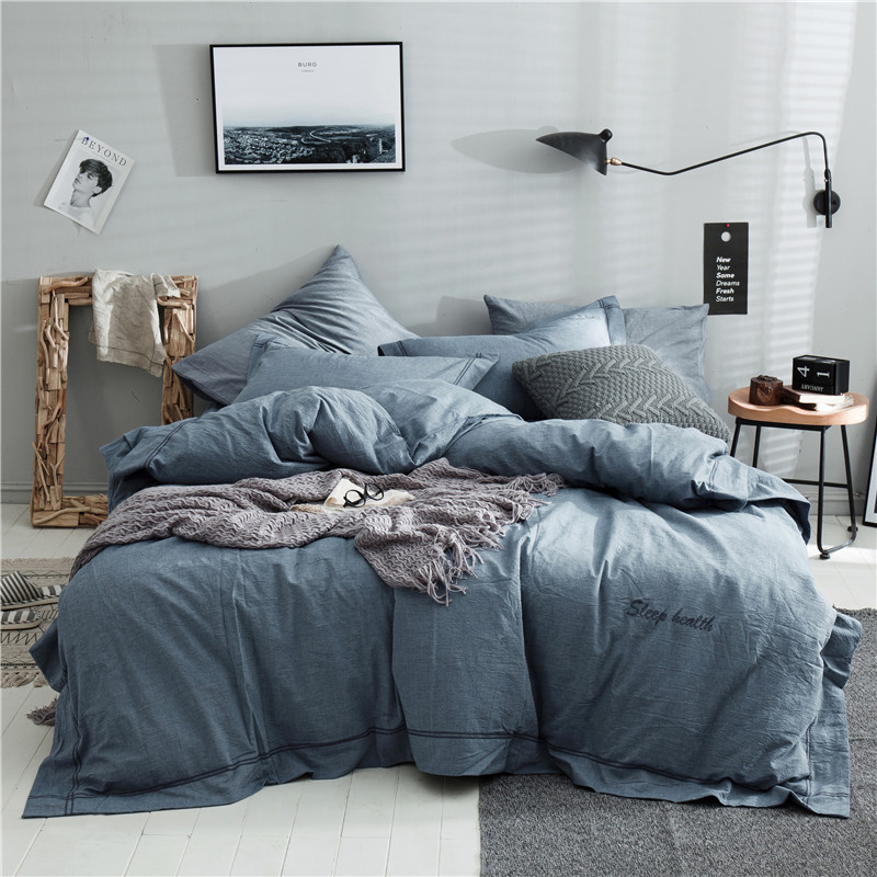 God Blue Solid Color Bedding Set 3/4pcs Family Set Include Bed Sheet Duvet Cover Pillowcase Boy Room Flat Sheet No Filler Bed God Blue Solid Color Bedding Set 3/4pcs Family Set Include Bed Sheet Duvet Cover Pillowcase Boy Room Flat Sheet No Filler Bed