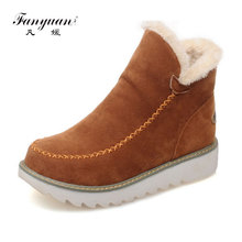Fanyuan Winter Large Size 34-43 Ankle Snow Boots Women Warm Plush Round Toe Platform Shoes Woman comfortable wedges footwear size 34 43 winter women snow boots warm round toe comfortable flat shoes female footwear fashion botas popular 896