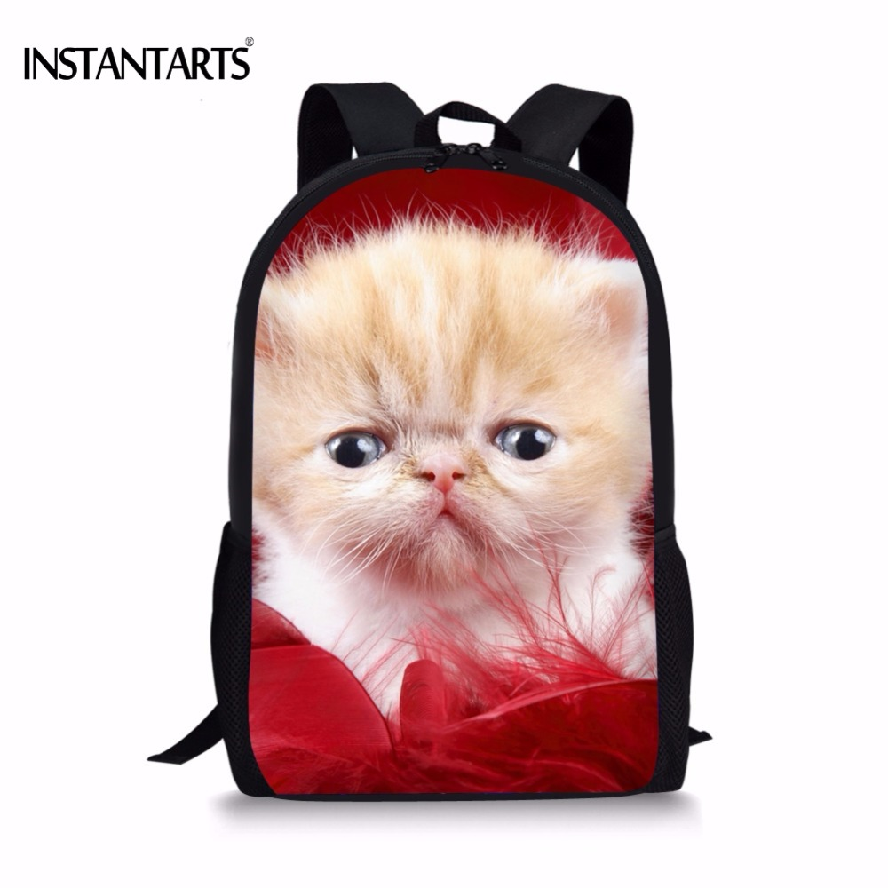 INSTANTARTS Kawaii 3D Persian Cat/Kitty Boys Girls School Bags Casual Primary School Students Bookbags Kids Schoolbag Backpacks