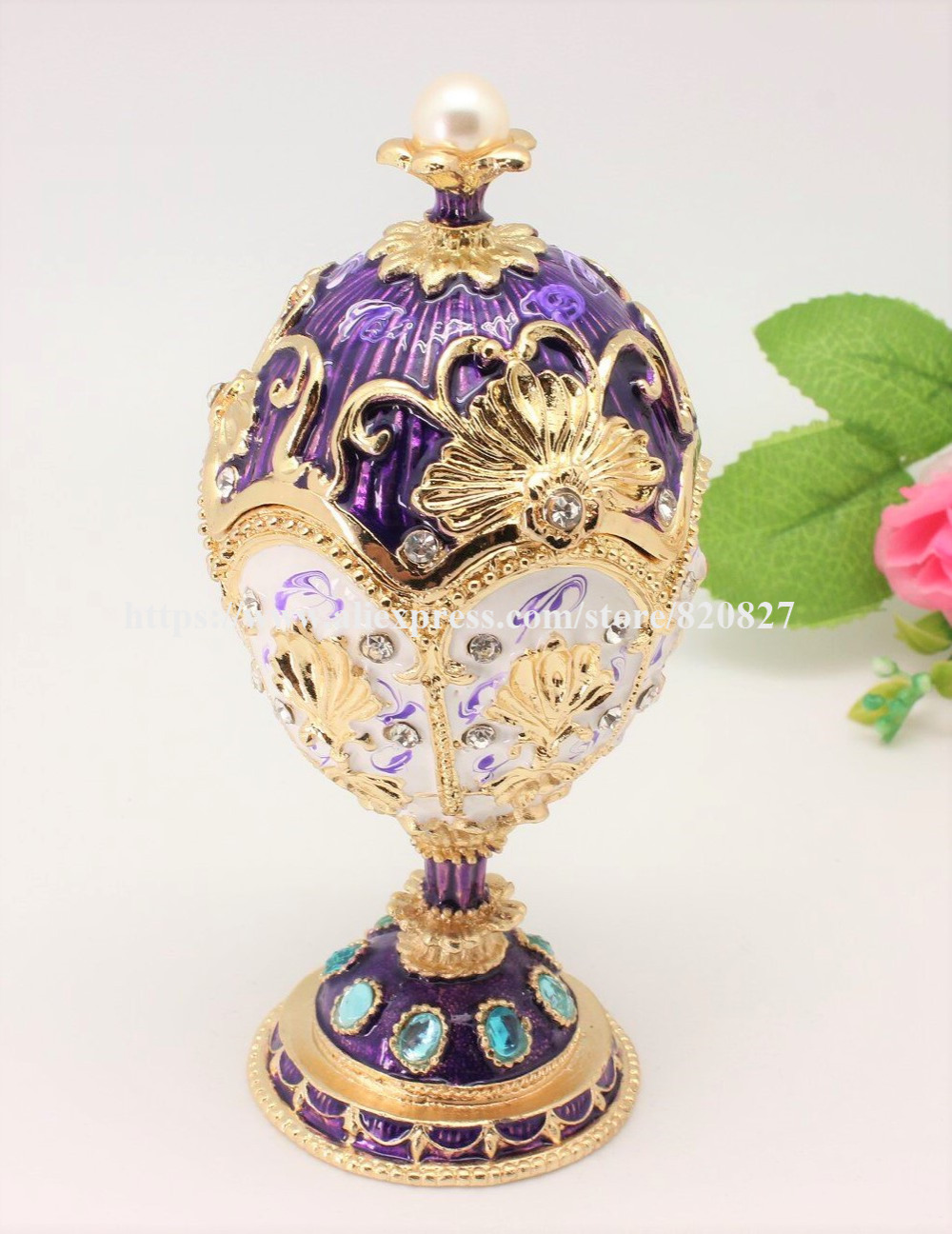 Faberge Style Egg Shaped Trinket Box Hinged Egg Ring Holder Pearl Egg Figurine Boxe Decor egg Jewelry Organizer Gift