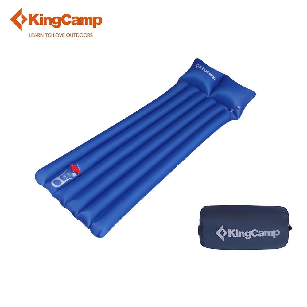 KingCamp Sleeping Pad Ultralight Tent Mat Portable Self Inflating Camping Mattress Damp-proof with Pillow for Trekking Outdoor наматрасники esspero непромокаемый наматрасник damp proof