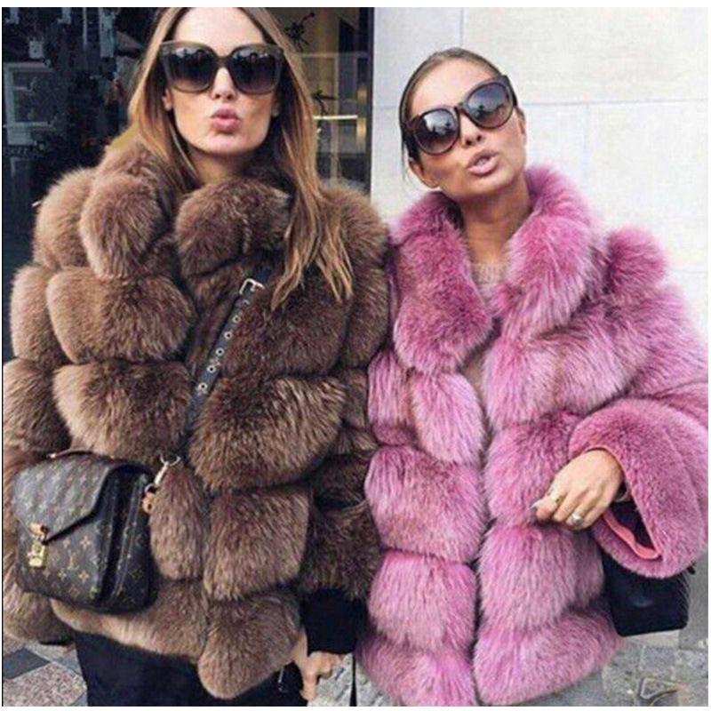 2018 New Winter Coat Women Faux Fox Fur Coat Plus Size Women Stand Collar Long Sleeve Faux Fur Jacket Fur gilet fourrure Y26