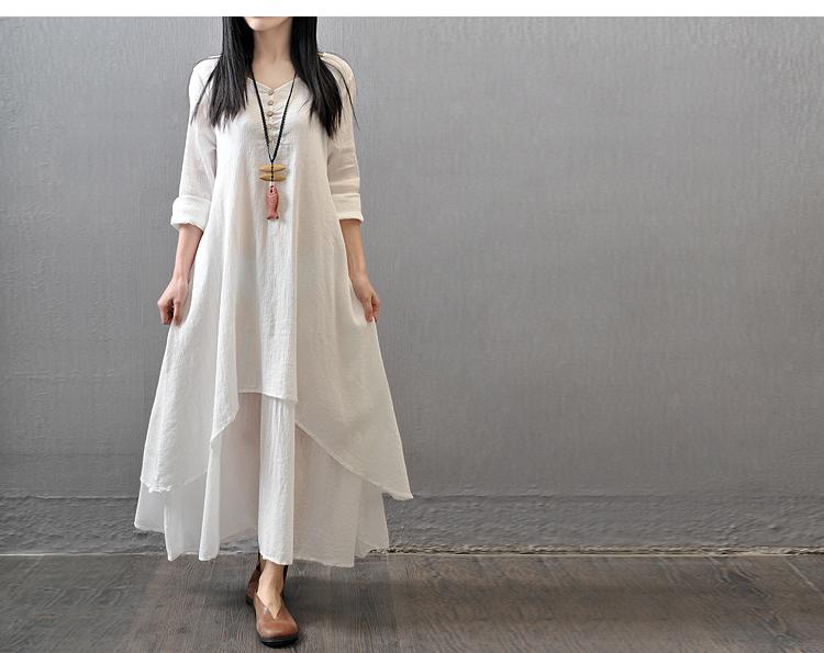 3c6ce81f65dc7 Detail Feedback Questions about U SWEAR Big Size Long Dresses Women False  Two piece Long Sleeve Cotton Linen Dress Casual White Boho Oversized Summer  Dress ...