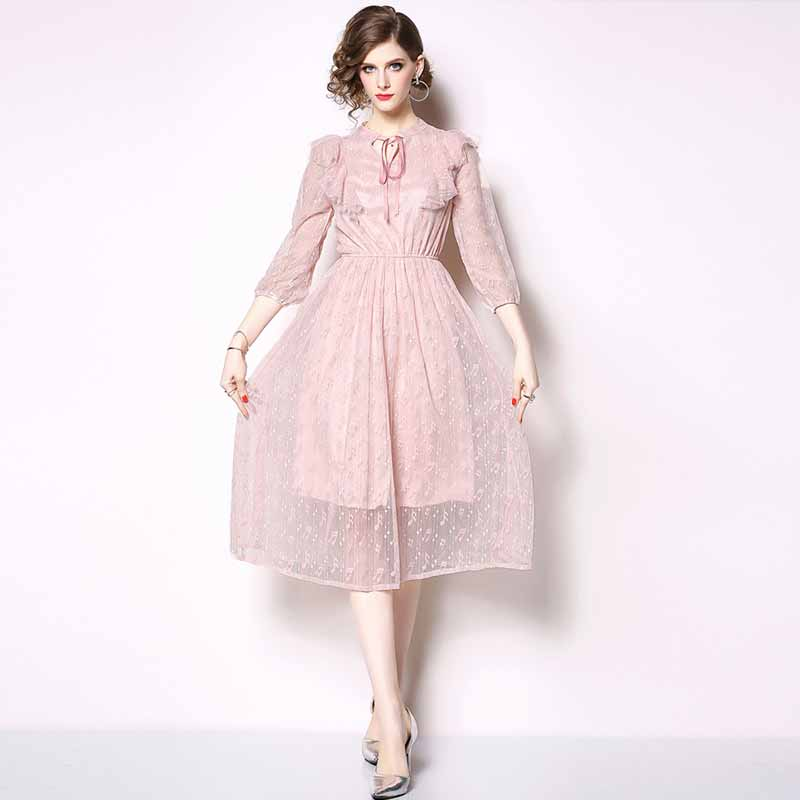 ac9a41a3c9 Sweet Pink Lace Dress 2019 Women Spring Summer Bow Tie Collar Sexy Ruffles  Elastic Waist Midi