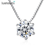 Teemi New Top Quality Six Claw Single Clear Cubic Zircon S925 Sterling Silver Jewelry Bridal Engagement