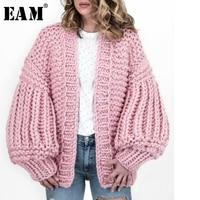 [EAM] 2019 New Spring Full Lantern Sleeve Loose O Collar Loose Open Sitich Korean Sweater Women Fashion Tide OB134