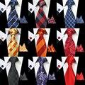 GUSLESON Nuevo Diseño de la Tela Escocesa Rayada Corbata Set 100% Seda Jacquard hombre Gravata Corbata Hanky Gemelos Set Lazo Para Hombre para La Boda partido