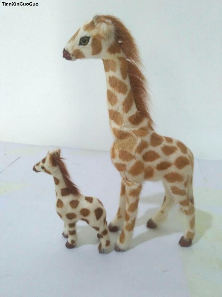 simulation giraffe hard model prop polyethylene&furs giraffes mom&baby handicraft toy decoration gift s1594