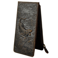 New Vintage Genuine leather Wallet Men's Clutch Wallets Long Bifold Currency Dollar Purse Credit ID Card Holder Zipper Purses