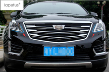 Lapetus Accessories For Cadillac XT5 2016 2017 2018 2019 Front Head Light Lamp Eyelid Eyebrow Protector Cover Kit Trim / ABS
