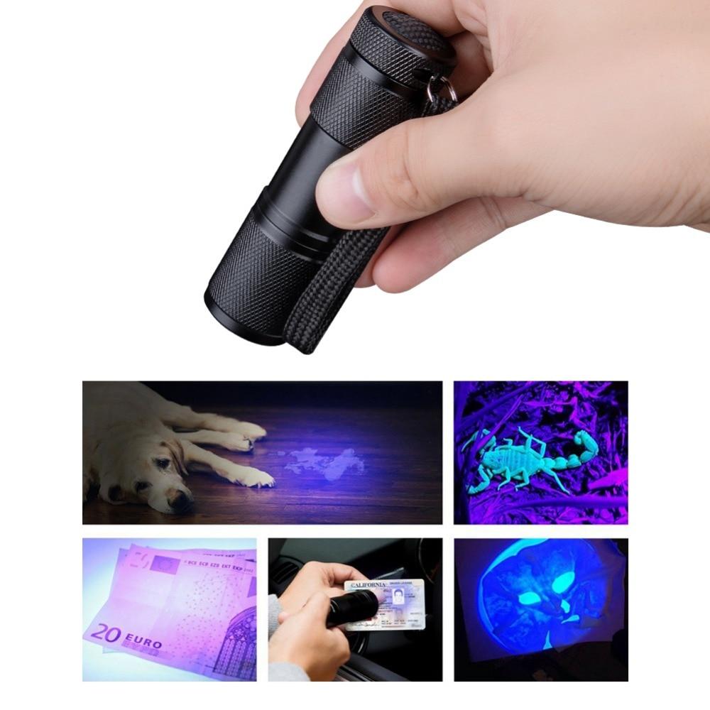 9 LED 365nm Ultra Violet UV lamp Licht Blacklight Lijm Nail Curing Zaklamp Zaklamp voor Nail Machine Curing OCA Lijm AAA Torch