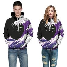 Mr.1991INC Autumn Winter Fashion Men/Women Hoodies Hooded With Hat Print Sea Waves Thin Style 3d Sweatshirts