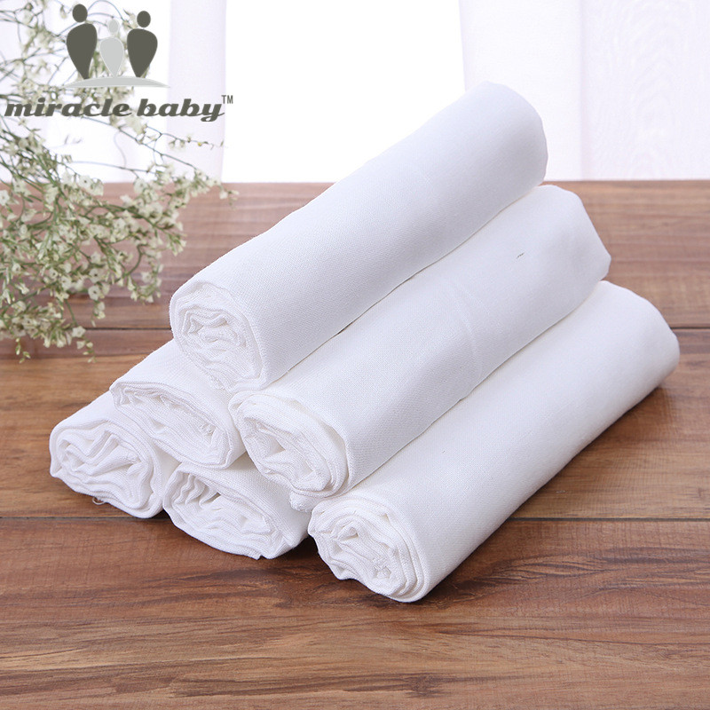 Muslīna autiņbiksītes 10 gab. Bērnu autiņbiksīšu jaundzimušo kokvilnas atkārtoti lietojamas autiņbiksītes 50 * 70 cm