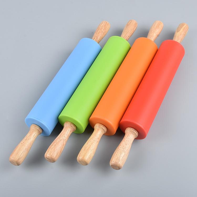 Mango de madera de silicona rodillo hornear herramientas