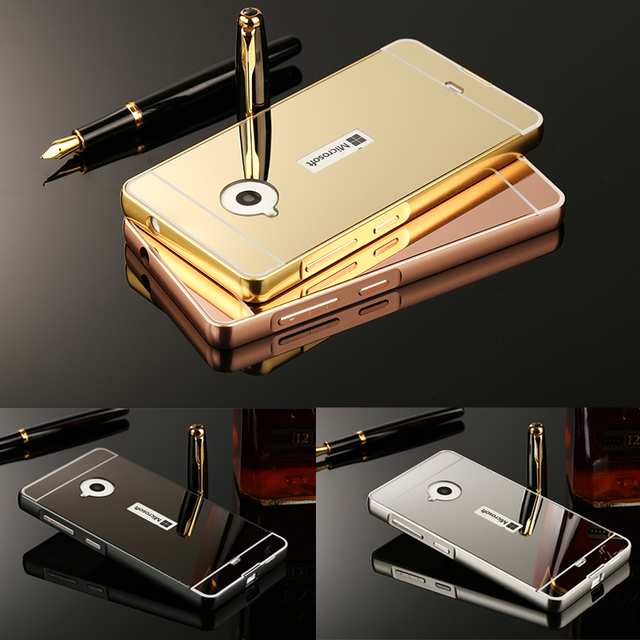 huge discount 559bc d1ff5 US $3.89 |Metal Aluminum Frame Acrylic Plastic Mirror Back Cover Case For  Nokia Microsoft Lumia 535 550 630 640 830 930 950 XL 1320 1520-in Phone ...