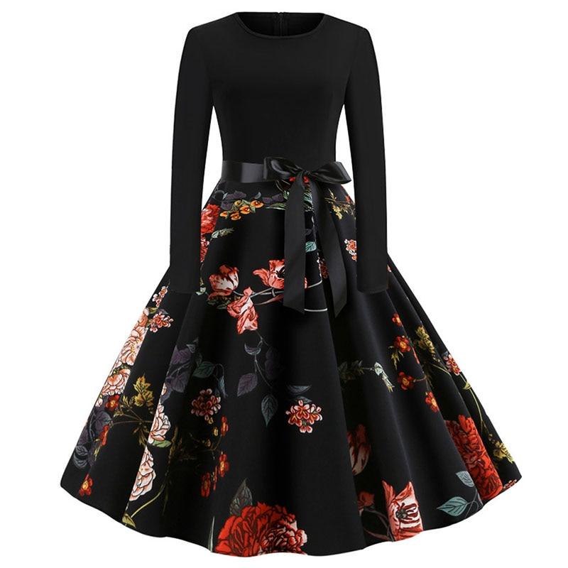Plaid Print Vintage Dress Women 19 Christmas Casual Robe Femme Plus Size Dress Elegant Party Dresses Long Sleeve Vestidos 56