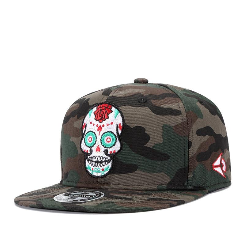 2018 New Men Women Hip Hop Hat Skull Embroidery Bone Camouflage Printing Baseball Cap Men Outdoor Casual Snapback Hat For Boys