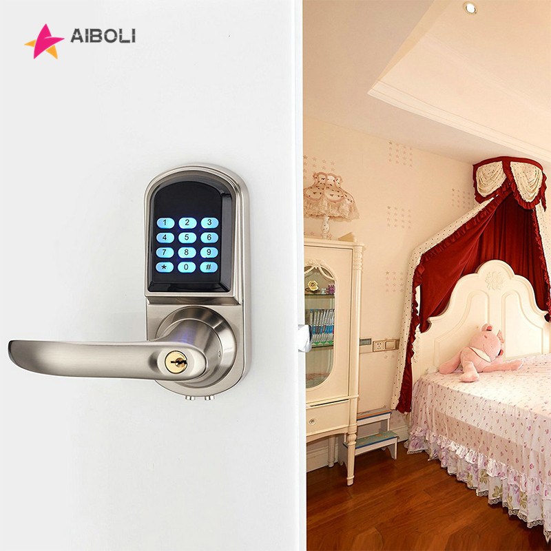 AIBOLI Card Password smart lock digital electronic door lock touch screen Anti-theft Intelligent Mechanical key smart door loc