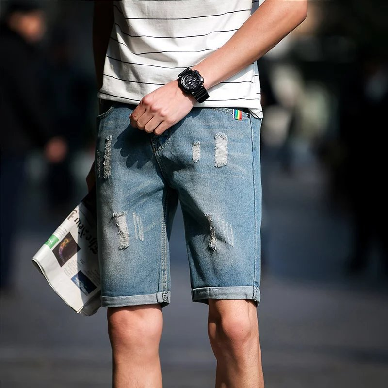 2018 jeans shorts men summer color jeans mens Slim trend fashion casual shorts masculino