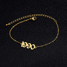 Personalized Number Bracelet Year 1989 1999 1988 Custom Stainless Steel Old Englih Jewelry For He Maxi Colar