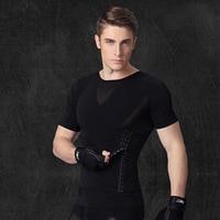 ESHINES Body Shaper Slimming Belt Man Breathable Quick Dry Sport Shirt Suit Elastic Quick Dry Running Jogging Gym Men Tshirt