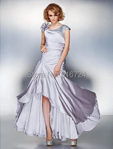 Vaina Scoop de raso asimétrica gasa lf2739 madre vestido de la novia