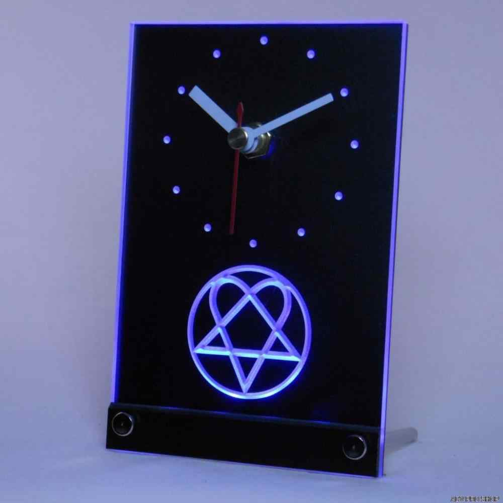 tnc0166 Him Heartagram Logo Band Table Desk 3D LED Clock