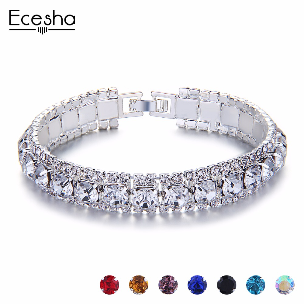 Ecesha Silver Crystal Bracelets For Women Charm Hand Chain