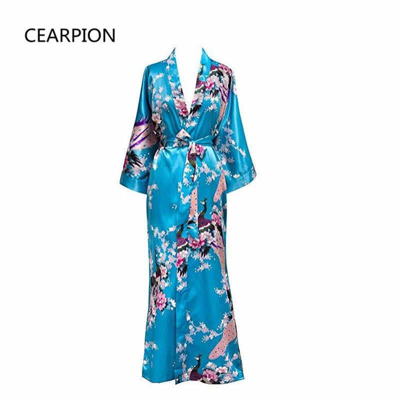 Artı boyutu XXXL çin kadınlar uzun elbise baskı çiçek tavuskuşu Kimono bornoz kıyafeti gelin nedime düğün bornozlar seksi pijama